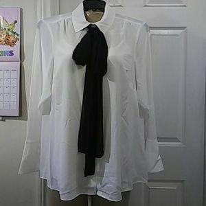 Michael Kors Collection White Shirt in semisheer